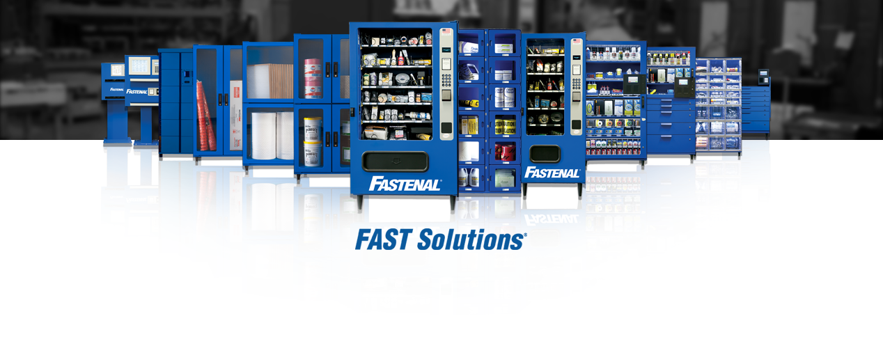 FAST Solutions Vending. Row of all types of Fastenal vending machines on a white background