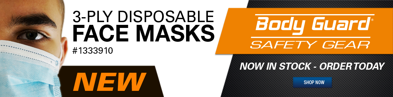 Body Guard 3 Ply Disposable Face Masks. Now In Stock - Order Today. Part # 1333910