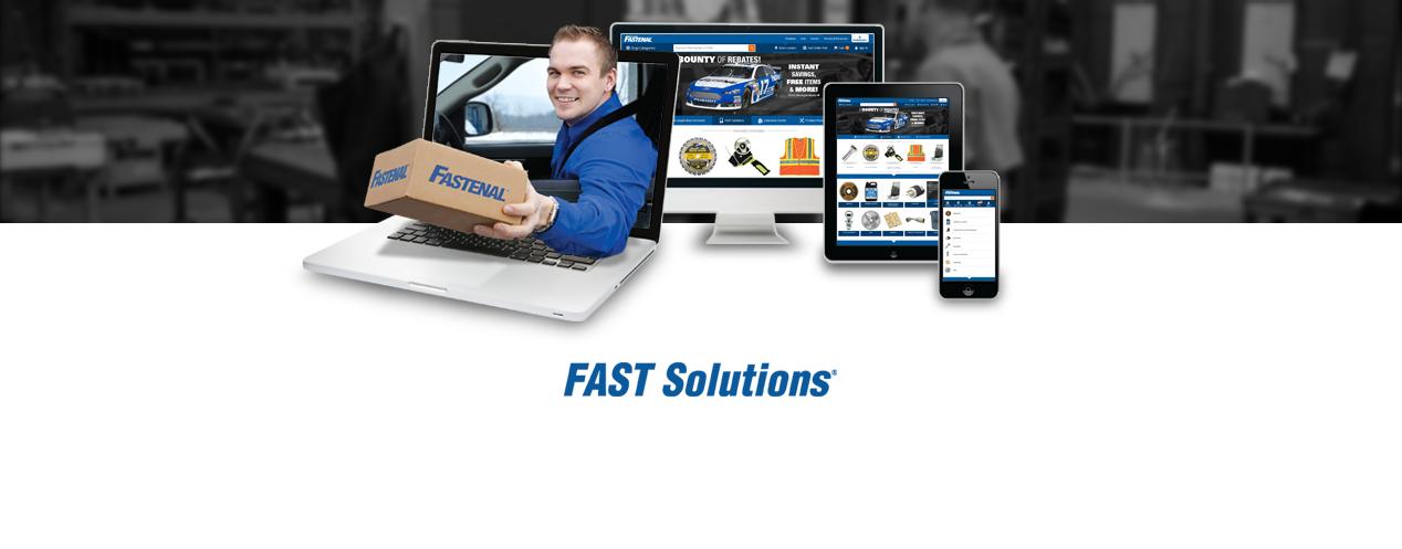 Solutions pour commerce électroniqueFAST. Rangée de divers appareils électroniques sur Fastenal.com. Un homme fait passer une boîte à travers un écran d'ordinateur portable.