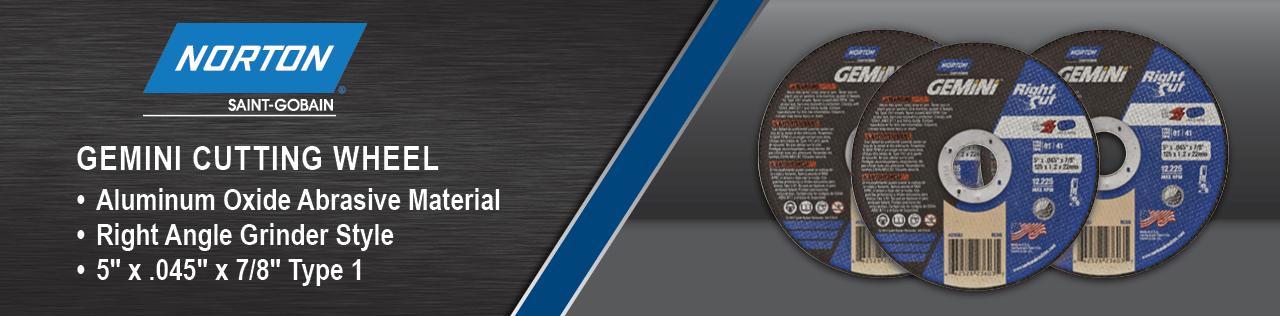 Norton Gemini Cutting Wheel, Aluminum Oxide Abrasive Material, Right Angle Grinder Style, 5